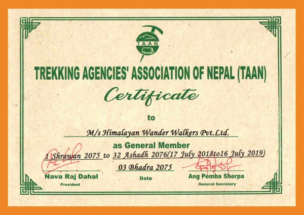 Trekking Agency Association of Nepal Membership